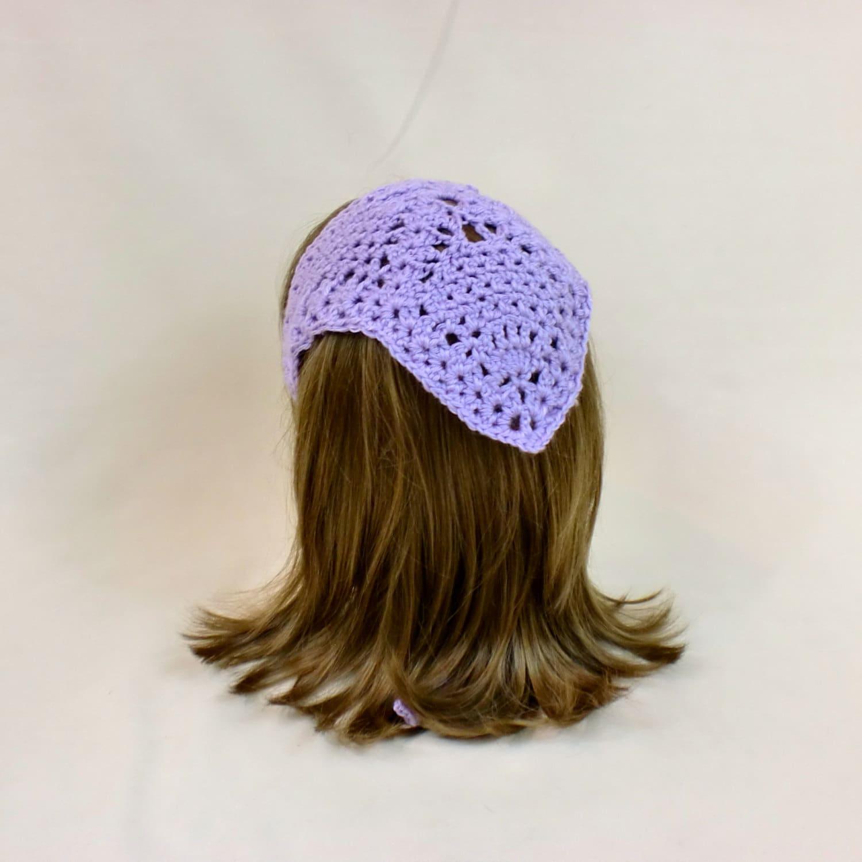 Lavender Hair Kerchief Lace Bandana Headband Purple Crochet