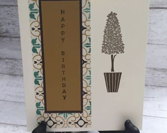 Birthday Card, Happy Birthday Card, Happy Birthday, Handmade Card, Fall Colors, Mid-Century Modern Design, Stampin' Up! Vertical Greetings