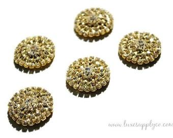 Gorgeous Gold 25 mm Rhinestone Embellishments with a Flat Back - DIY Wedding Invitations - Crafting Supplies - MR445 Gold Flat Back