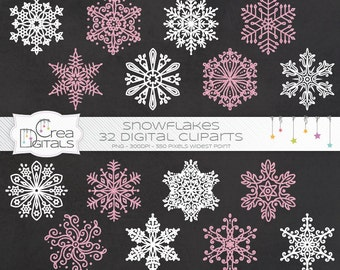 Pink glitter and white snowflakes cliparts for winter and Christmas - INSTANT DOWNLOAD