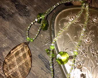 """Champagne Fawn Crystal 2"""" Teardrop Prism Statement Necklace with Olive and Lime Green Beads & Prisms Mothers Day Gift  Pendant Green Beige"""
