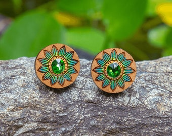 Cute Floral Earrings with Green Rhinestone Gem - Hand painted designer wood studs - Australian timber jewellery