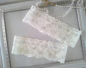 SALE Plain Wedding Garter set, Ivory Bridal Garter, Lace garter, Ivory Garter Style #GS0015