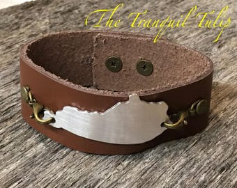 Leather Cuff Bracelet - Kentucky Bracelet - Brown Leather Cuff