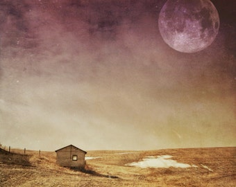 full moon photo, blood moon, barn landscape photo, home decor, night sky, moon, purple pink gold, home decor art Ontario, surreal dramatic