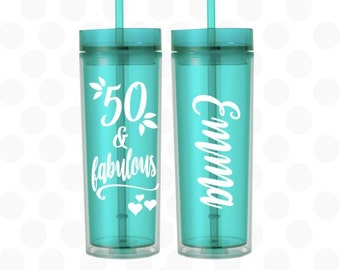 50th birthday for her, 50 and Fabulous tumbler, 50th birthday cups, 50th birthday gift, 50th birthday gift for her, 50th birthday gift