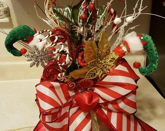 Christmas Tree Topper Bow, Christmas Floral, Christmas Tree Topper, Bow Centerpiece, Modern tree decorations