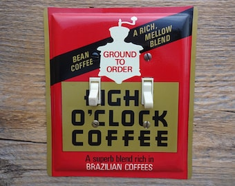 Light Switch Plate A&P Coffee Tin 8 Eight O Clock Tins Red Switchplate Cover Unique Kitchen Decor Lighting SP-0047D