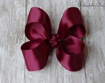 """Burgundy Satin Large Hair Bow 4"""" Christmas Hairbow 4"""" Hair Bow Large Hair Bow Girl Hairbow Wine Satin Bow Maroon Hairbow"""