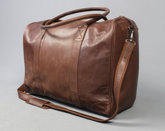 SAMPLE SALE: The passenger holdall vintage style leather holdall duffel weekend bag cabin flight unisex mens luggage gift