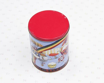 1980's Trails End Popcorn Tin, Vintage Canister Container, Kitchen Collectibles, Kids Bedroom Storage Container, Kids Storage Metal Tin Can