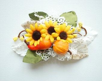 Sunflowers Bridal Hair Comb, Fall Weddings Hair Accessories, Bride Bridesmaids Headpiece, Rustic  Farm Weddings, Pumpkin, Yellow Orange