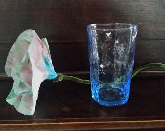 Blue glass or vase, hand blown glass, Vintage