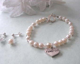 Flower Girl Jewelry, Bracelet and Earring SET, Swarovski Pearls and Crystals  Choice of Pearl Color, Bridesmaid Gift, Wedding Jewelry Set