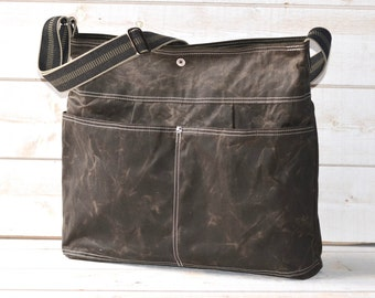 Diaper bag, Waxed canvas bag, Messenger bag, adult bag, gift for her, graduation gift, cross body bag, bike bag, travel bag, khaki green