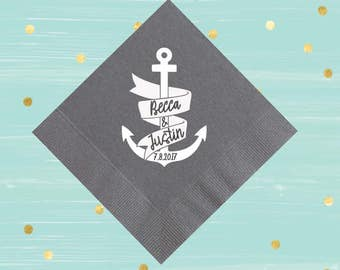 Nautical Napkins, Wedding Napkins, Personalized Napkins, Custom Napkins, Birthday Napkins, Foil Paper Napkins, Party Napkins, Bar Napkins