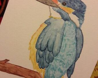 Original watercolor hand painting in watercolor bird Kingfisher Watercolor Bird