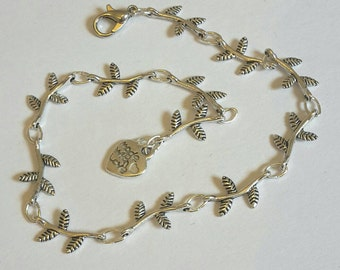 Sweet dainty leaf and twig charm link anklet - silver plated