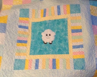 Boy or girl baby quilt; sheep machine embroidered Applique baby quilt in pastel colors; crib quilt or play mat