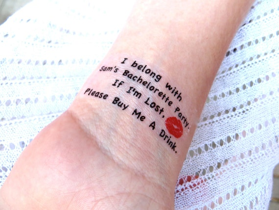 Bachelorette Or Hen Party Temporary Tattoo Free Bride Tattoo The Original Bachelorette Tattoo As Seen On Lauren Conrad