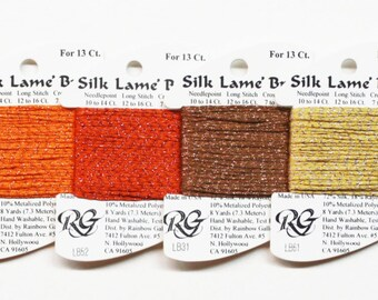 Silk Lame Braid 18 Ct 3.60 Each, Silk Lame Braid 13 Ct, Metallic Yarns, Silk Yarns, Metallic Threads, Metallic Threads, Rainbow Gallery Silk