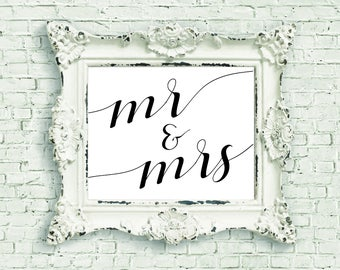 Mr and Mrs Print | Printable Wall Art | Mr & Mrs Sign | Home Decor Print | Wall Art Print | Wedding Gift | Housewarming Gift | Gift for Her