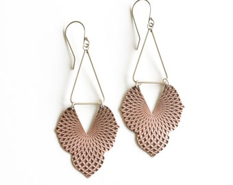 "Old world meets modern and geometric in these unique earrings, embossed copper shape paired with a silver triangle - ""Alhambra Earrings"""