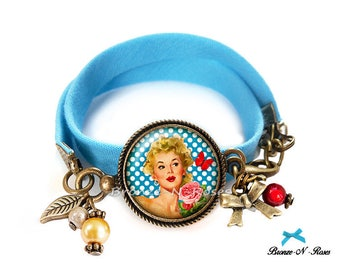 Bracelet * pin-up Girl * cabochon jewel bronze dotted blue fabric