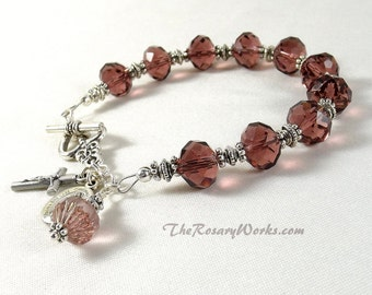 Miraculous Medal Rosary Bracelet Chaplet St Therese Mother of Sorrows Good Shepherd Sacred Heart Burgundy Crystals Single Decade Prayer Bead