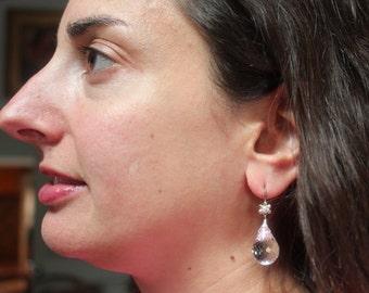 Swarovski Crystal Drop Earrings/Faceted Crystal Drop Earrings/Swarovski Crytal and Sterling Silver/Drop Earrings
