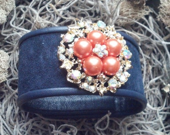 Tangerine Pearl Beads and Blue Suede Cuff