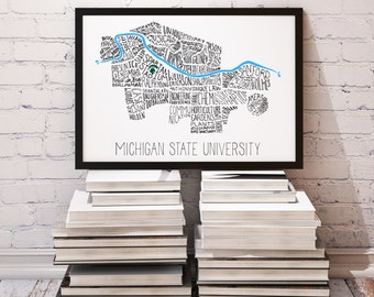 Limited Quantity! Michigan State University MSU Main Campus Typography Map - Spartans Wall Decor, Graduation or Christmas Gift (#8101)