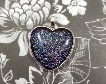 Heart Necklace, Glass Cabochon, Holo Glitter Nail Polish Jewelry