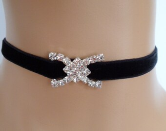 black velvet choker, crystal bow choker, bridal necklace, diamante necklace, elasticated ribbon