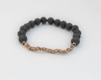 Minimalist Lava Bead Essential Oil Diffuser Bracelet · 8mm · Brass or Silver Faceted Cube Accents · Aromatherapy
