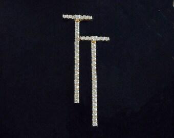 CZ Bar Earrings - CZ Bar Drop Earrings - Bar Earrings - Long Bar Earrings