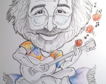 Jerry Garcia Rock Portrait Rock and Roll Caricature Music Art by Leslie Mehl