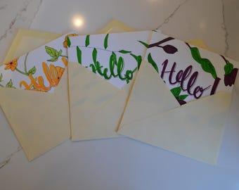 Botanical 'Hello!' Greeting Cards - Set of 3