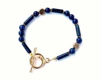 Lapis Lazuli Bracelet, Egyptian Style, Gemstone Jewelry, Handmade, Gold bracelet, Blue Bracelet, Lapis Jewelry, Toggle Clasp, Antique Gold