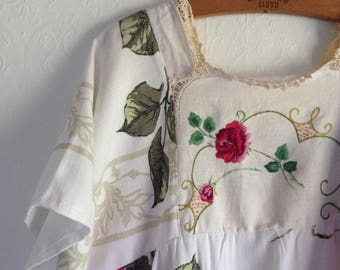 Womens Woodsfolk Cotton Linen Folk Dress in Vintage Cloth with Embroidered bodice and skirt Repurposed Eco size 14-16 long lace