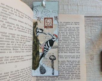 Unique handmade bookmark by collage techniques - Birds theme