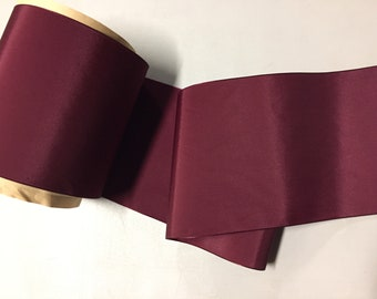 Vintage Taffeta Ribbon, Wine, made of Nylon, 4 inches wide, Price is per Yard