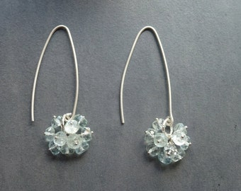 Sterling silver Aquamarine berry or cluster earrings. Pale blue bridal wear or wedding gift March birthstone