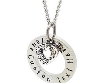 Personalised Jewellery, Personalised Necklace, Family Necklace,  Hand Stamped Silver Names necklace with Love Heart Charm