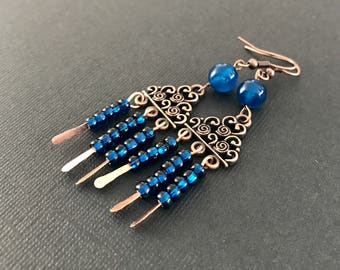 Blue long earrings - Wire copper earrings - Gift for women wire wrapped - Gift for here - Metal jewelry - Unique  mothers Day gift for women