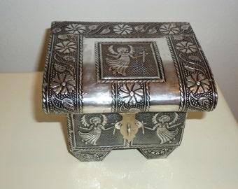 Angel Embossed Aluminum Jewelry/Trinket Box