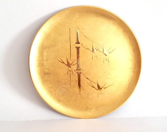"""Gold Bamboo Tray Lacquerware 8"""" Round Serving Plate Hand Crafted OTAGIRI Original Japan Asian Art Hollywood Regency Gift Her Mom Mothers Day"""