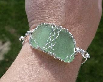 Sea Glass Bracelet. Sea Foam Sea Glass Bracelet. Sea Glass Jewelry. Celtic Wire Wrapped Sterling Silver Bracelet. Genuine Sea Glass Bangle
