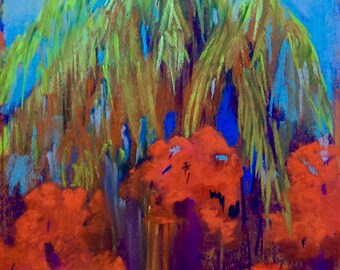 Original Painting 'Palms and Bougainvillea' by DM Horn
