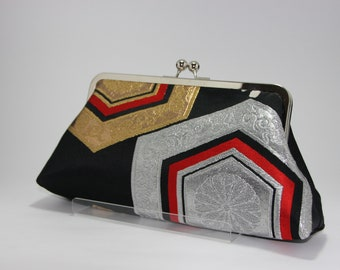 Black geometric Clutch / Vintage Kimono Obi bag/ hand made/26